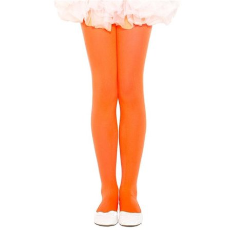 Music Legs 280-ORANGE-S Girls Opaque Tights - Small - Halloween 280