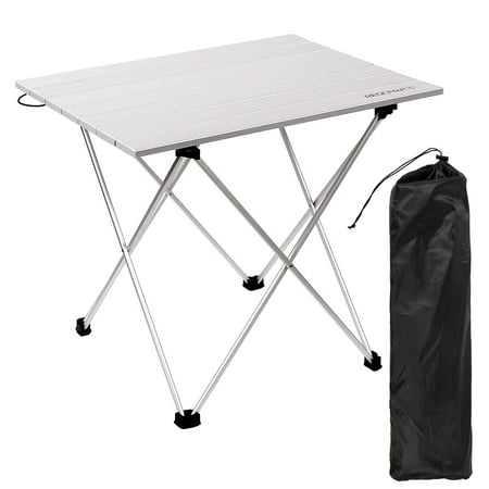 REDCAMP Aluminum Camping Table That Fold Up Lightweight, 16/22/27 Inches, Folding Roll Up Table for Beach, BBQ, with Carrying Bag ()