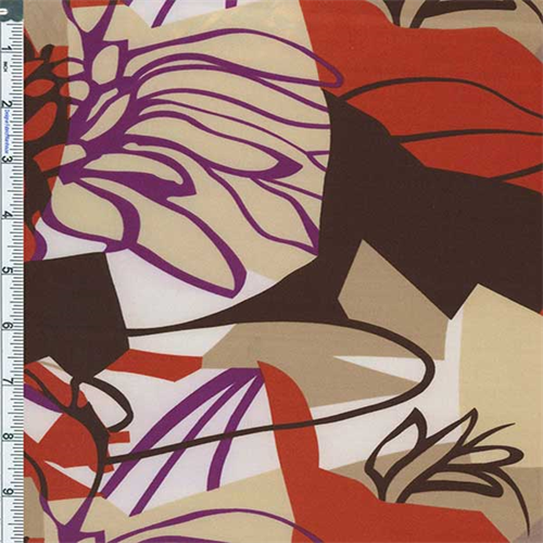 Brown/Orange Abstract Floral Print Satin Charmeuse, Fabric By the Yard