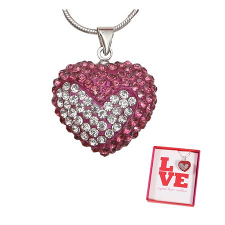 Dark Pink & White Crystal Heart  Valentines Love Heart Charm -