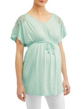 Liz Lange Maternity v neck babydoll top with crochet detail