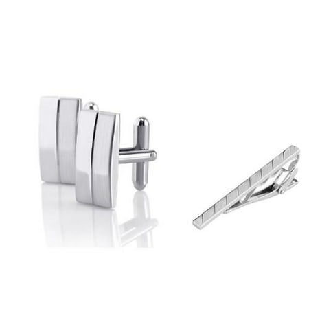 Necktie Cufflinks (Men's Silver Rectangular Stripe Cufflinks + Silver Angled Stripes Faceted Tie Clip)