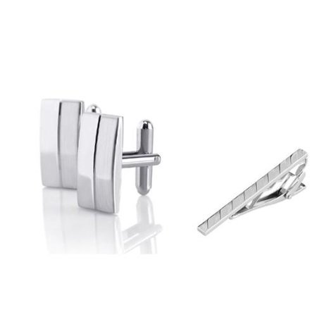 Men's Silver Rectangular Stripe Cufflinks + Silver Angled Stripes Faceted Tie Clip