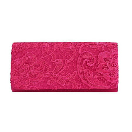 - Chicastic Lace Satin Wedding Bridal Bridesmaid Cocktail Clutch Purse - Fuchsia Pink