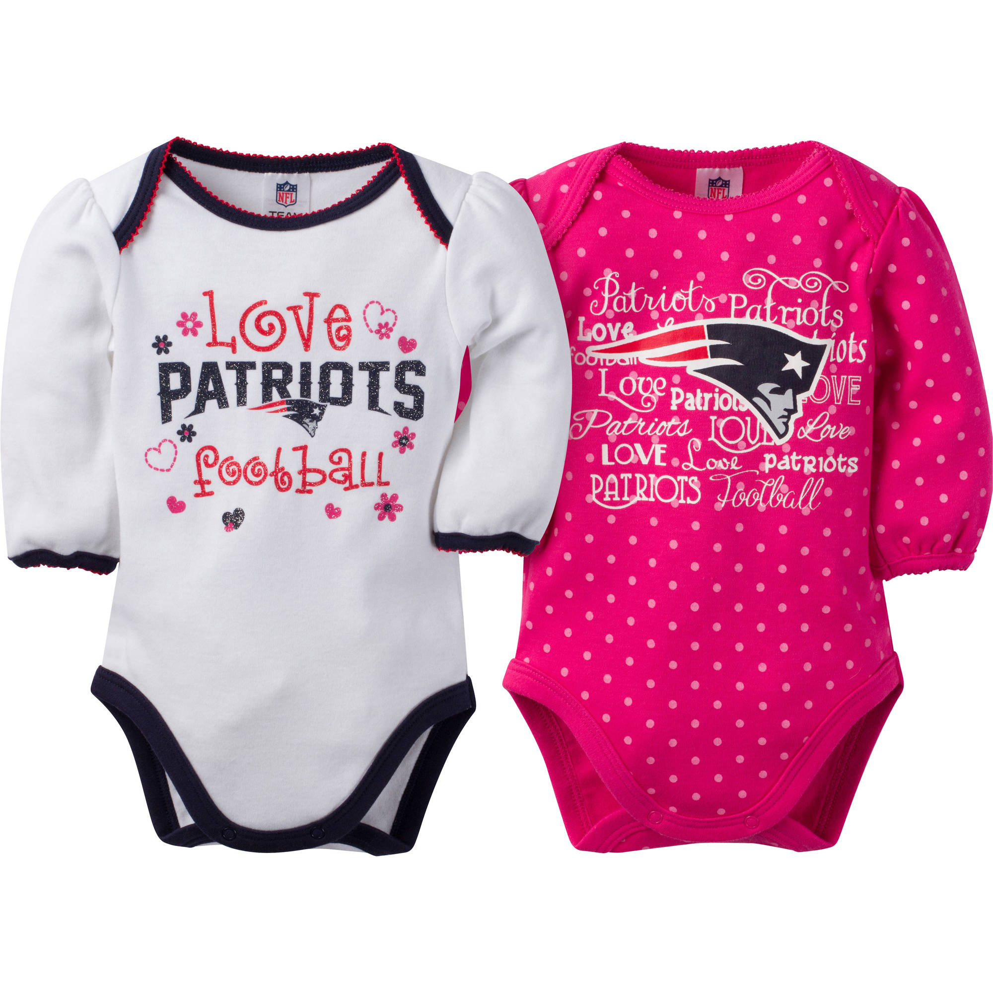 NFL New England Patriots Baby Girls Long Sleeve Bodysuit Set, 2-Pack