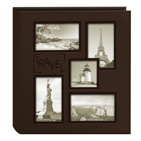 Pioneer Collage Frame Embossed Travel Sewn Leatherette Cover Photo Album, BrownEmbossed Travel text By Pioneer Photo Albums