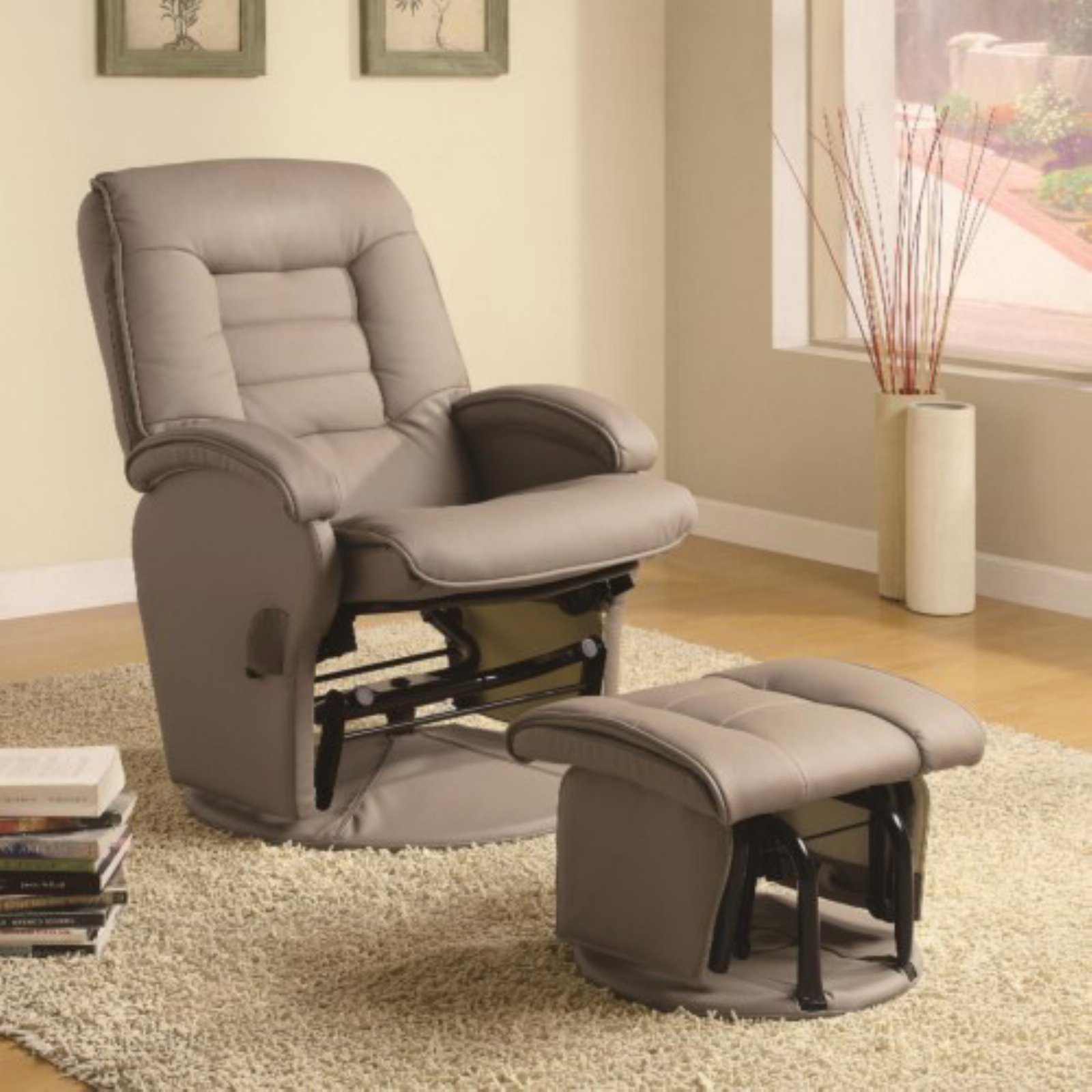Coaster Double Padded Glider and Ottoman in Bone
