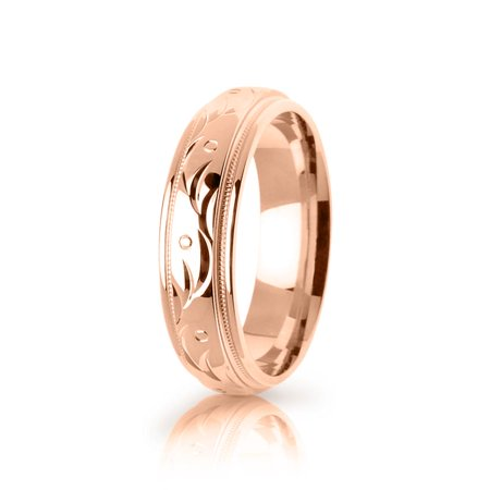 Authentic 18k Rose Gold Polished Designer Paisley Wedding Band Mm