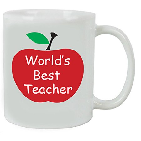 World's Best Teacher 11 oz White Ceramic Coffee Mug with Gift Box - Great Gift for Teachers - Birthday, or Christmas Gifts for