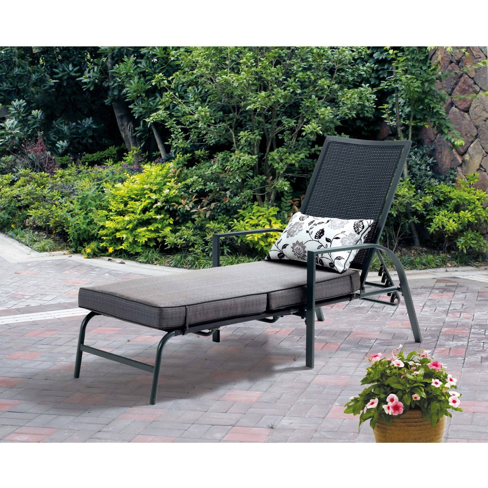 Mainstays Alexandra Square Chaise Lounge, Gray with Leaf Design