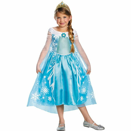 Frozen Elsa Deluxe Child Halloween Costume (Good Group Girl Halloween Costume Ideas)