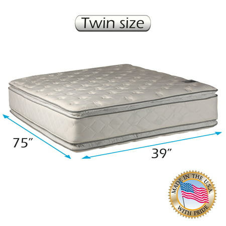 Serenity PillowTop (Twin) Medium Soft Mattress Only - Double-Sided, Sleep System with Enhanced Cushion Support, Fully Assembled, Back Support, Longlasting by Dream Solutions USA
