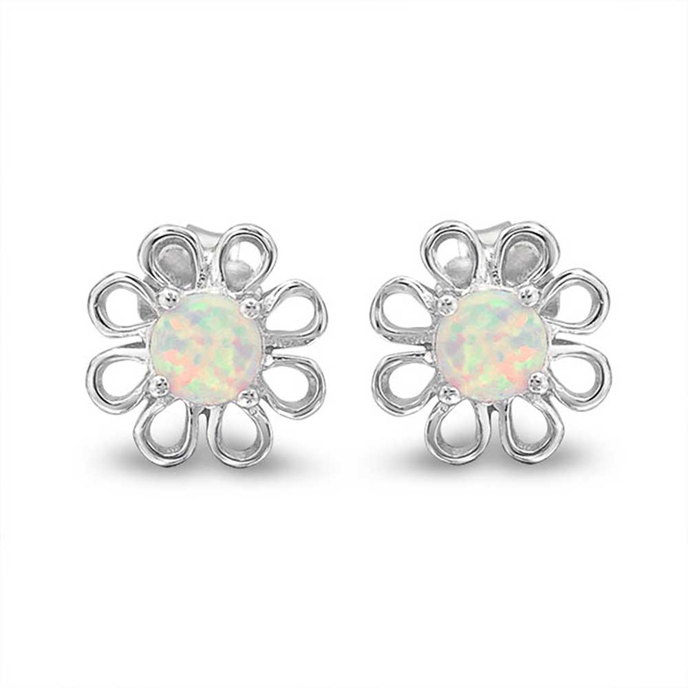 Bling Jewelry Round Simulated White Opal October Birthstone Stud earrings 925 Sterling Silver 10mm zR9ZbkH