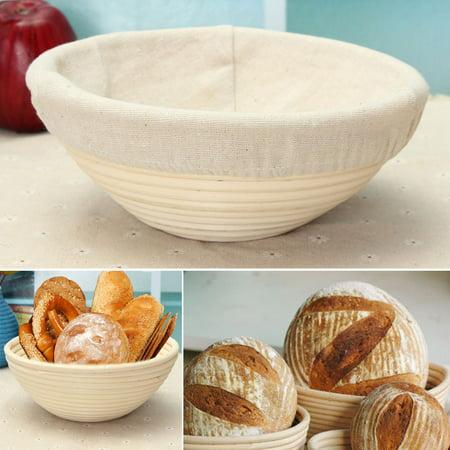 "20cm/7.87"" Round Natural Dough Rattan Bread Proofing Tray Storage Basket Display w/ Liner  - image 8 de 8"