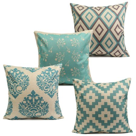 Meigar Vintage Aqua Mint Green Throw Pillow Cushion Cover 18''x18'' Cotton Linen PillowCase Standard Decorative Pillowslip Pillow Protector Cover Case for Sofa Couch Chair Car Seat Vintage Throw Pillows