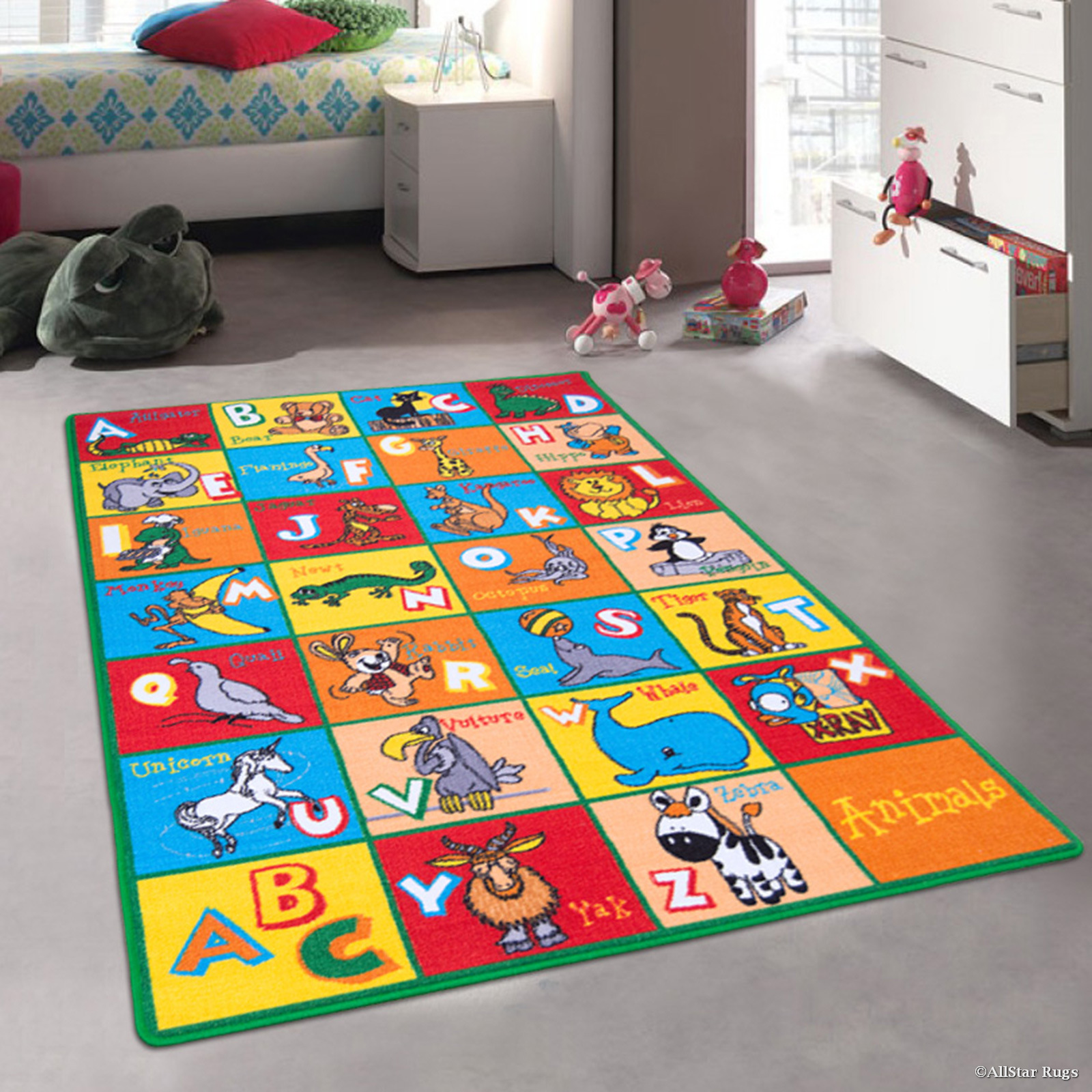 "Allstar Kids / Baby Room Area Rug. Learn ABC / Alphabet Letters with Animals Bright Colorful Vibrant Colors (4' 11"" x 6' 11"")"
