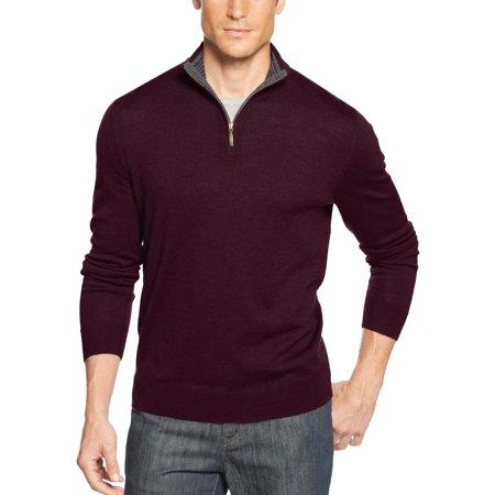 Estate Merino Wool Blend 1/4 Zip Up Sweater Red Plum Mockneck