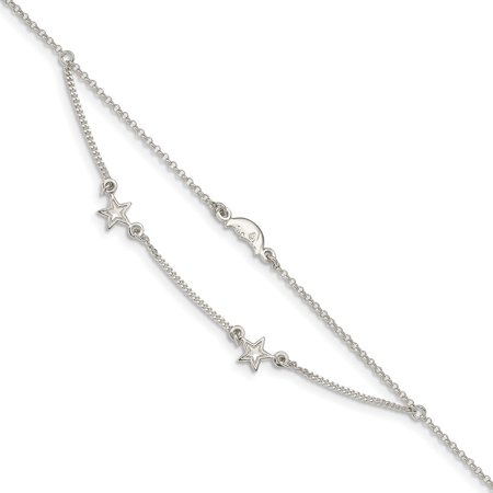"Solid 925 Sterling Silver 2-Strand Moon and Stars 1in Extension Anklet 9"""" (Width = 4mm ) -  AA Jewels"