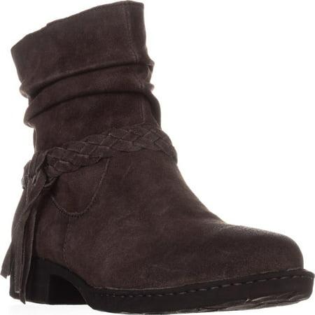 Womens Born Abernath Braided Cross Strap Ankle Boots, Grey Distressed