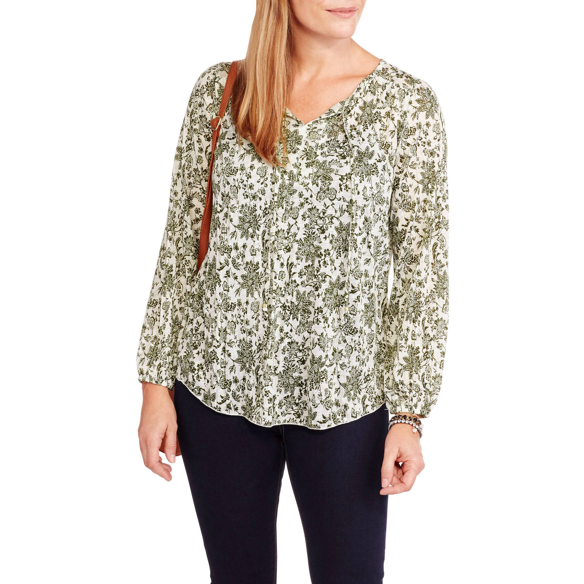 Faded Glory Women's Long-Sleeve Soft Crinkle Knit Peasant Top With Tassles