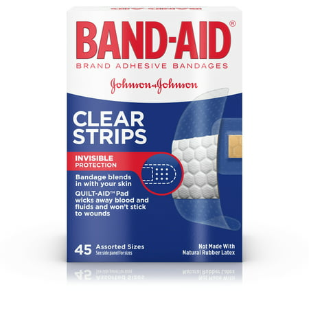 Monkey Band Aid - Band-Aid Brand Clear Strips Discreet Bandages Assorted Sizes, 45 ct