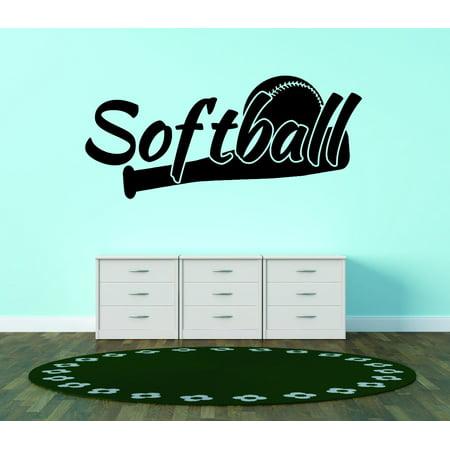 Custom Wall Decal : Softball Sport Quote Teen Boy Girl Bedroom 16x24 Inches