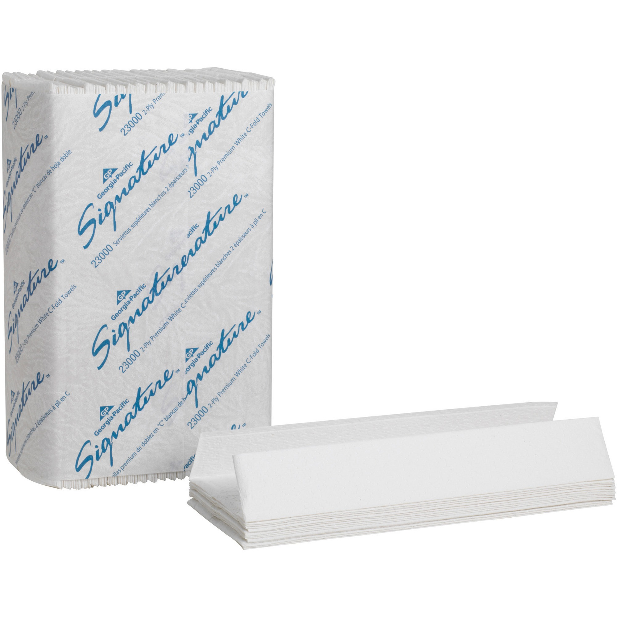 Georgia-Pacific Signature White 2-Ply Premium C-Fold Paper Towels, 23000, 12 Packs of 120 Towels per Case