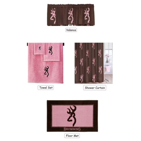 Browning buckmark 6 piece bathroom decor set pink and for Pink and brown bathroom ideas