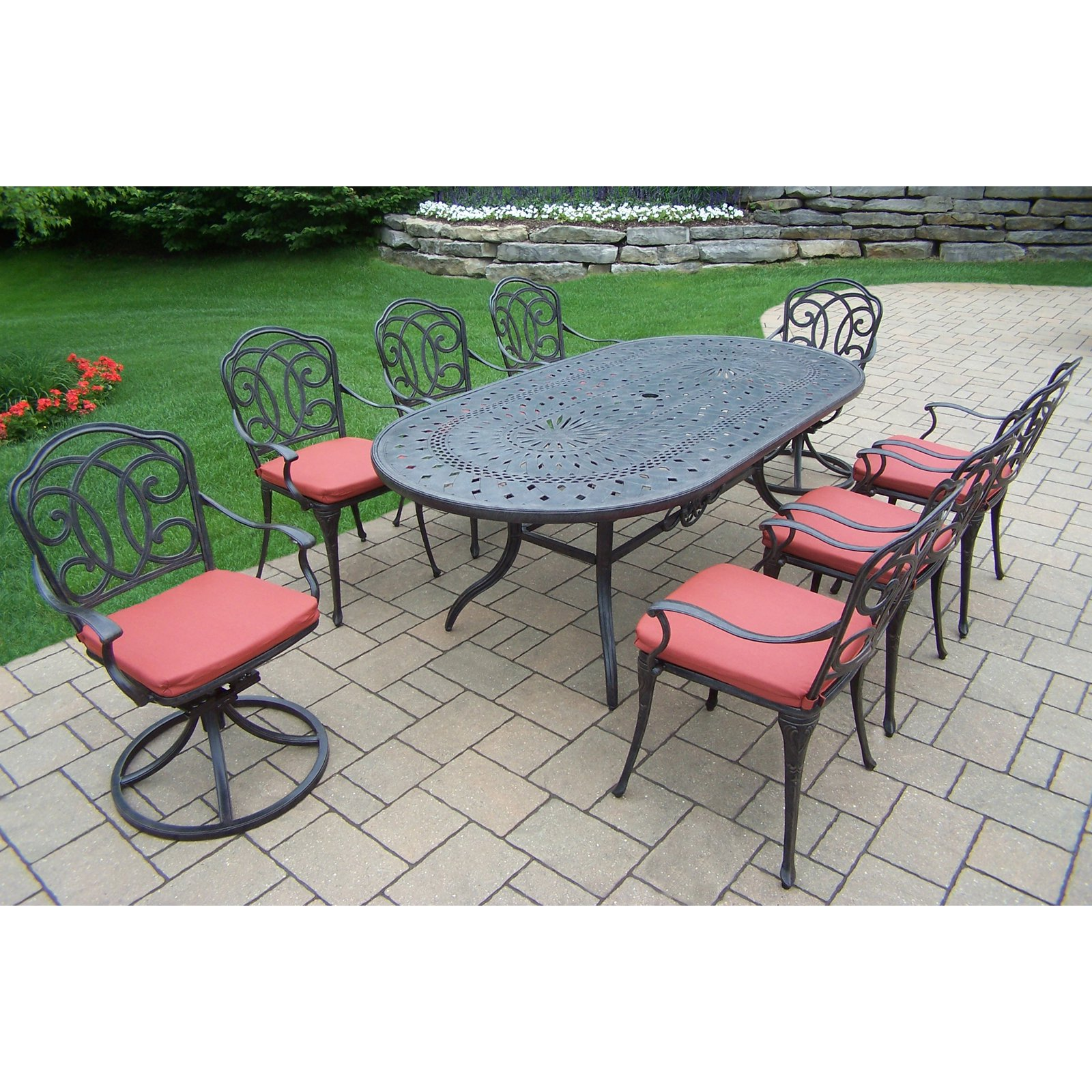Oakland Living Berkley Aluminum 9 Piece Oval Patio Dining Room Set by Oakland Living