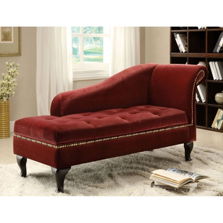 Furniture of America Visage Fabric Storage Chaise - Colonial Red ()