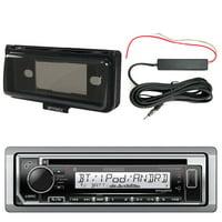 Kenwood KMRD372BT Marine CD Bluetooth Receiver, Single DIN Dash Installation Kit, Enrock 12 Volt Amp Booster Kit