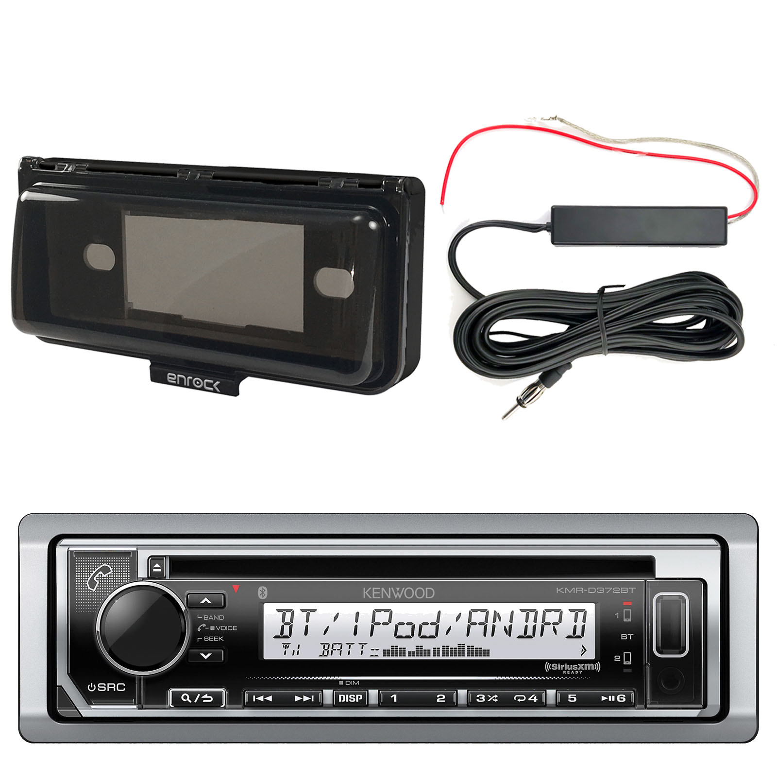 Kenwood KMRD372BT Marine CD Bluetooth Receiver, Single DIN Dash Installation Kit, Enrock 12 Volt Amp Booster Kit