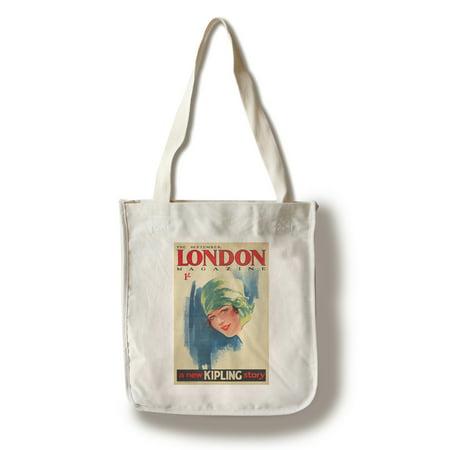 London Magazine Vintage Poster (artist: Purvis) UK c. 1927 (100% Cotton Tote Bag - Reusable) (Vintage Womans Day Magazine)