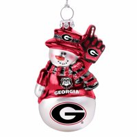 Georgia Bulldogs Glitter Snowman Ornament