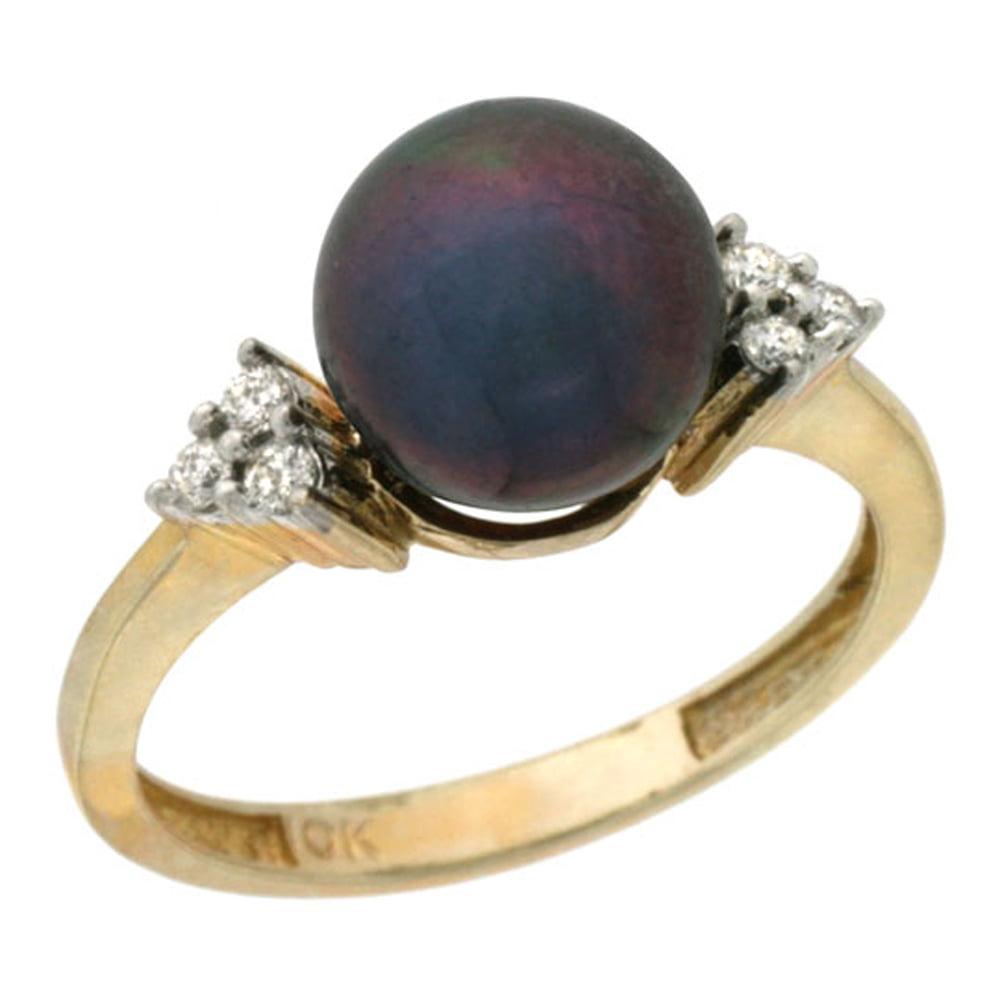 14k Gold 8.5 mm Black Pearl Ring w  0.105 Carat Brilliant Cut Diamonds, 7 16 in. (11mm) wide by WorldJewels