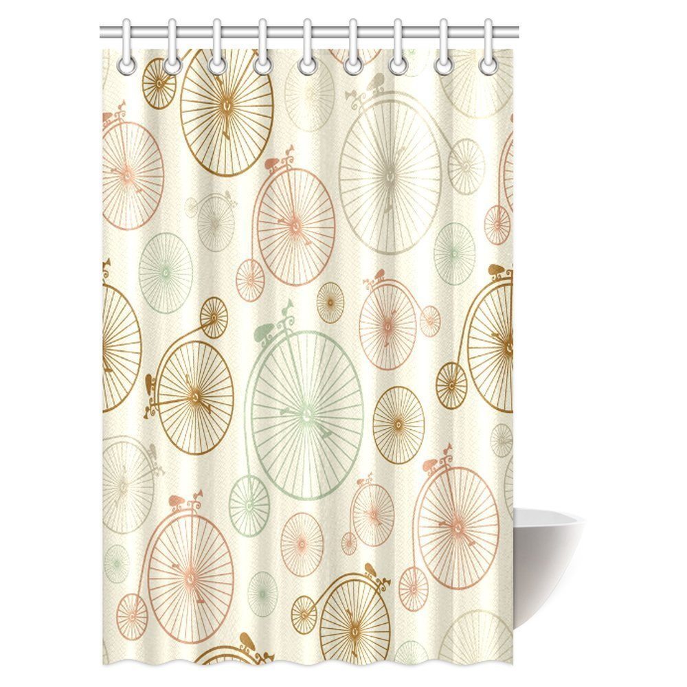 GCKG Vintage Decor Shower Curtain Bicycles With Antique