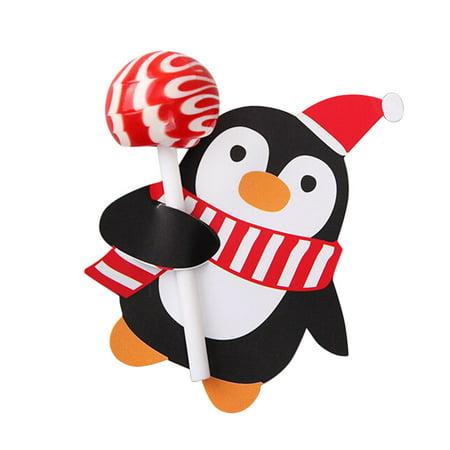 Penguins Of Madagascar Party Supplies (CARLTON GLOBAL 50x Santa Claus Penguin Lollipop Christmas Card lolly sugar-loaf Xmas Party)