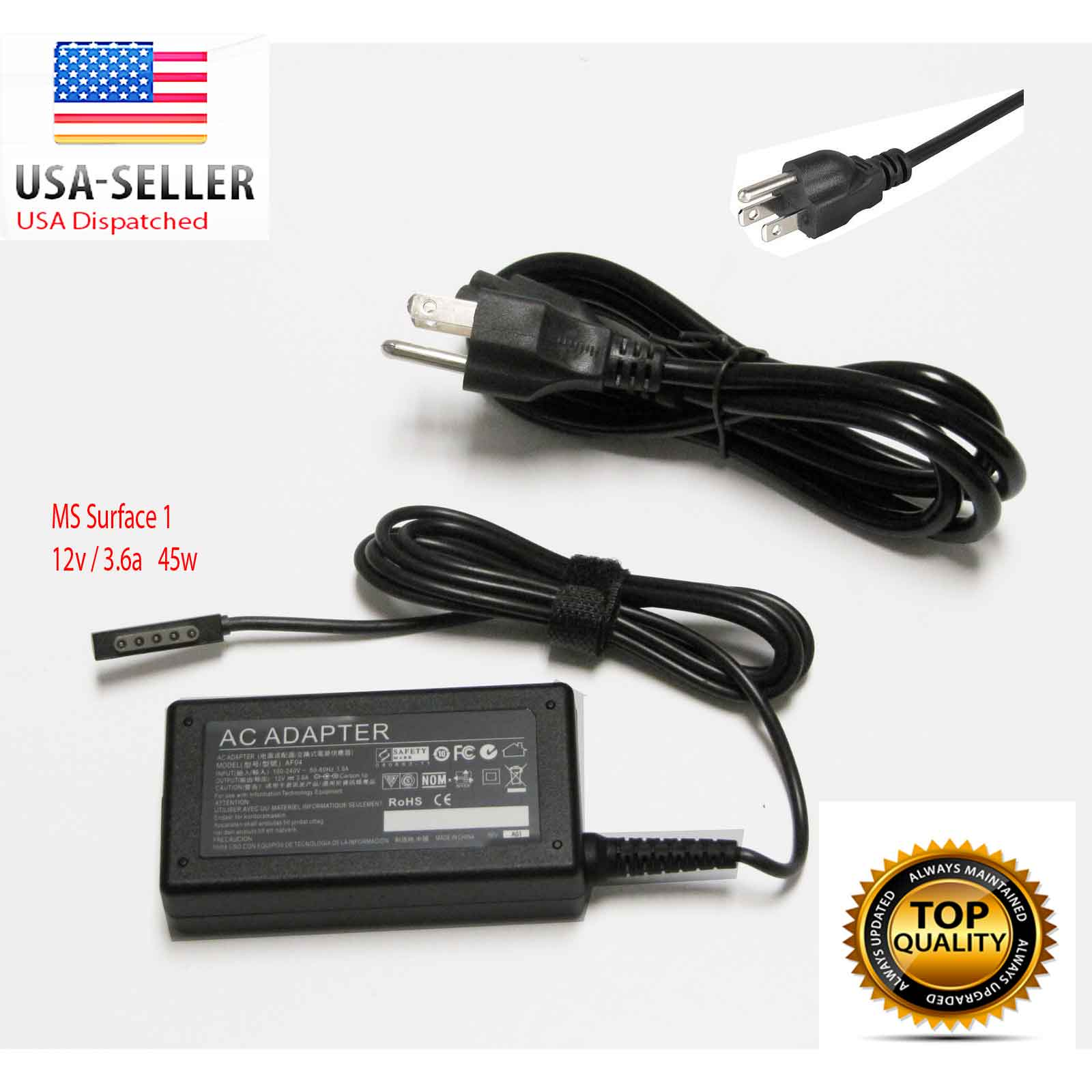 AC Adapter Charger Power Supply Cord For Microsoft Surface Pro /RT 12V 3.6A 48W Laptop Power Supply Charger Cord Plug (ZA-MS-45W)