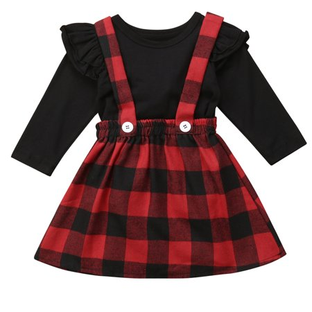 Toddler Christmas Dress.Baby Girls Christmas Outfits Long Sleeve T Shirt With Red Plaid Suspender Dress 1 2 Year
