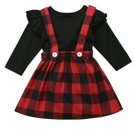 958ce0795708 Gaono - Baby Girls Christmas Outfits Long Sleeve T-shirt With Red ...