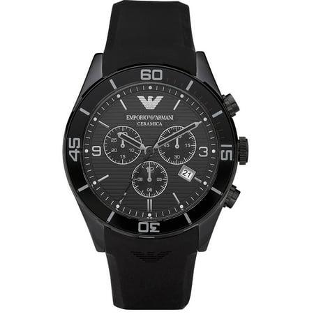 Emporio armani emporio armani ceramica chronograph black dial black rubber band men 39 s watch for Ceramica chronograph