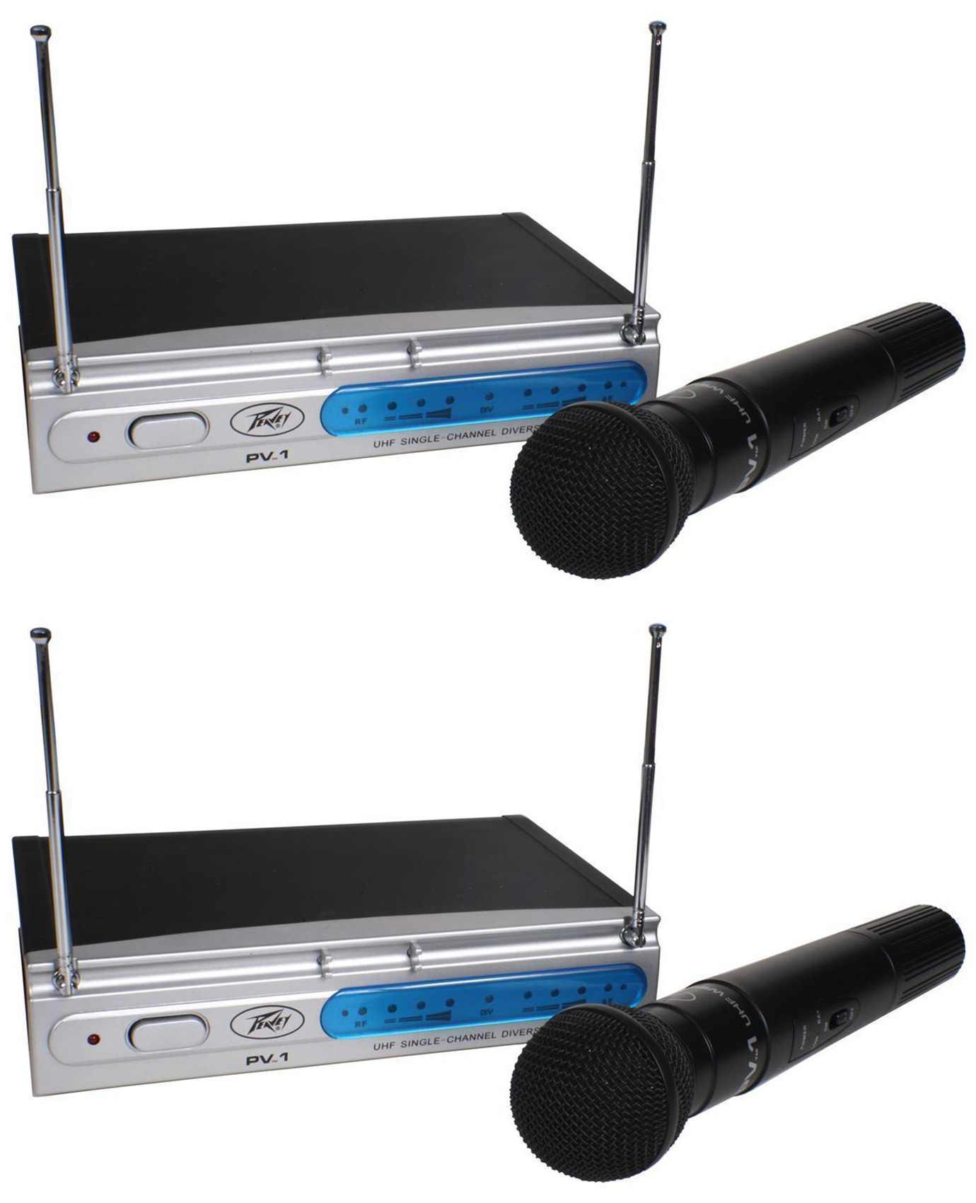(2) Peavey PV-1 V1 HH 198.950MHZ VHF Series Wireless Handheld Microphone Systems by Peavey