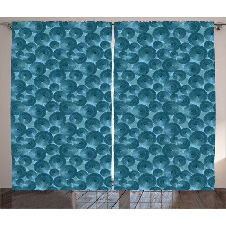 Modern Curtains 2 Panels Set, Nested Circles with Dots in Repeating Form Rounded Circular Tile Pattern Art Illustration, Window Drapes for Living Room Bedroom, 108W X 84L Inches, Blue, by Ambesonne