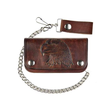 So Cal Wallets (Biker Men's 6 in Embossed Eagle Head Antique Motorcycle Chain Wallet AB412-40)