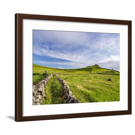 Green fields on the Island, Corvo, Azores, Portugal, Atlantic, Europe Framed Print Wall Art By Karol Kozlowski Azores 2 Light