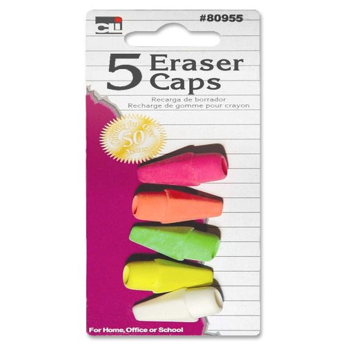 CLI Pink Eraser Pencil Cap - Latex-free - Rubber - 12/Pack - Assorted