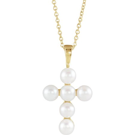 Bella Grace Jewelry Collection 14K Yellow Freshwater Cultured Pearl Cross Necklace