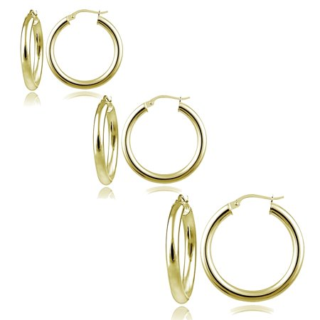 Set of 3 Gold Tone over Sterling Silver 3mm Polished Round Hoop Earrings, 25mm, 30mm, 35mm 35mm Sterling Silver Hoop Earrings