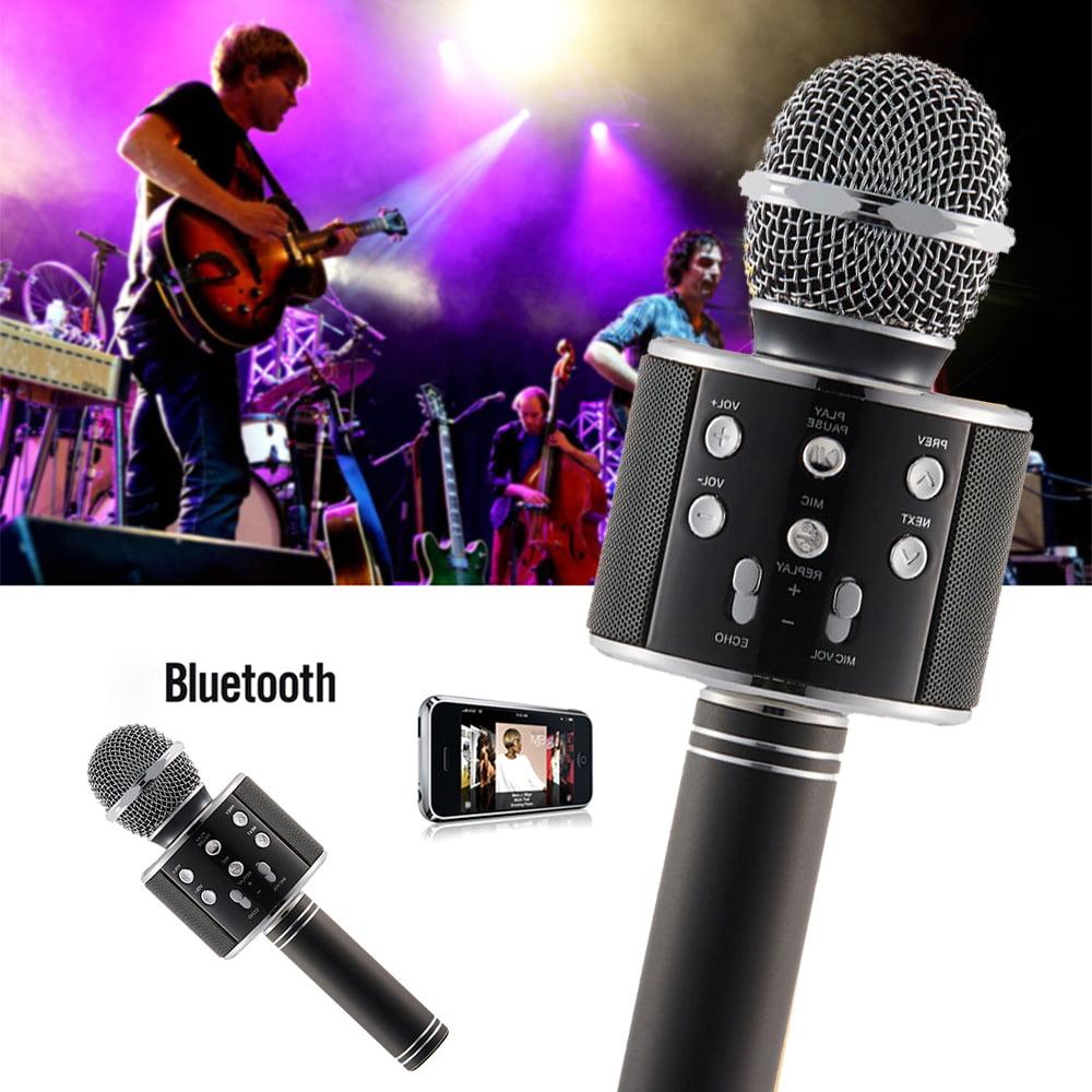 WS-858 Portable Wireless Karaoke Microphone,Handheld Cellphone Karaoke Player Built-in Bluetooth HIFI Speaker, Selfie 3-in-1 Rechargeable Li-battery Karaoke KTV MIC Machine Black