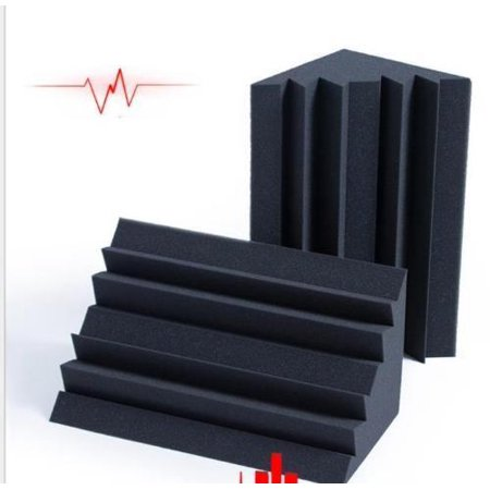 2PK Large Acoustic Foam Black Bass Trap Soundproof Corner Wall Tiles Studio Home Theater 20x10x10